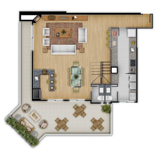 Planta Penthouse 804 RGS e MP - Inferior